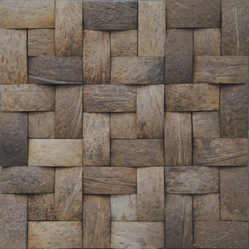 JHK-58-R textured 3 D coconut wood mosaic